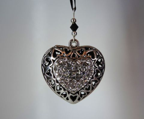 Silver Heart with Rhinestones - Black Crystal - Xmas Tree Decoration